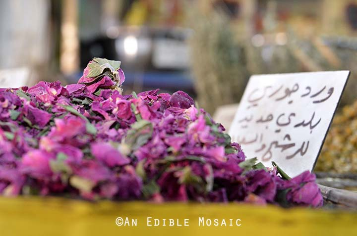 Dried Roses at Middle Eastern Spice Market in Syria