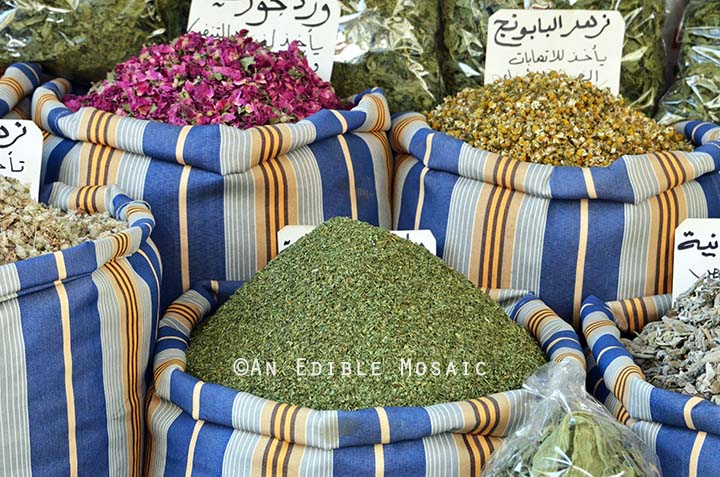Dried Mint at Middle Eastern Spice Market in Syria