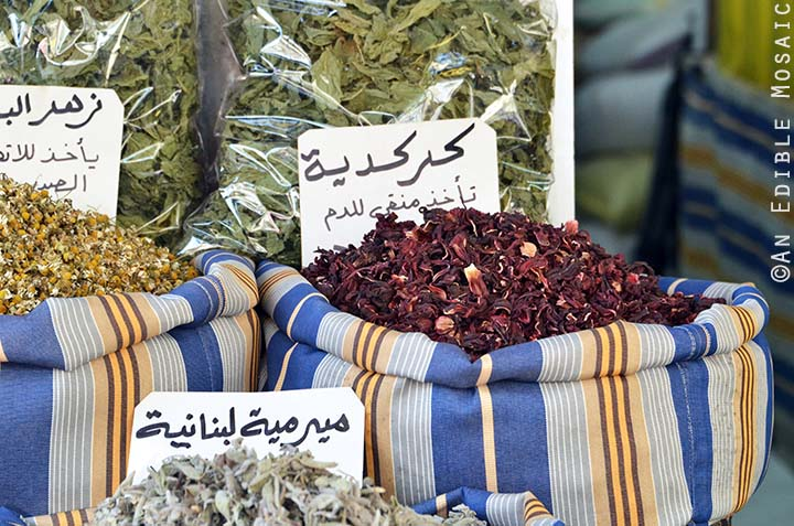 Dried Hibiscus at Middle Eastern Spice Market in Syria