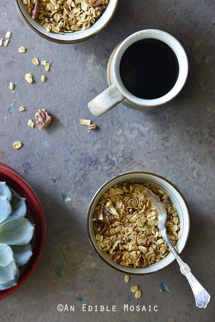 Spiced Maple Pecan Muesli Granola Breakfast Table