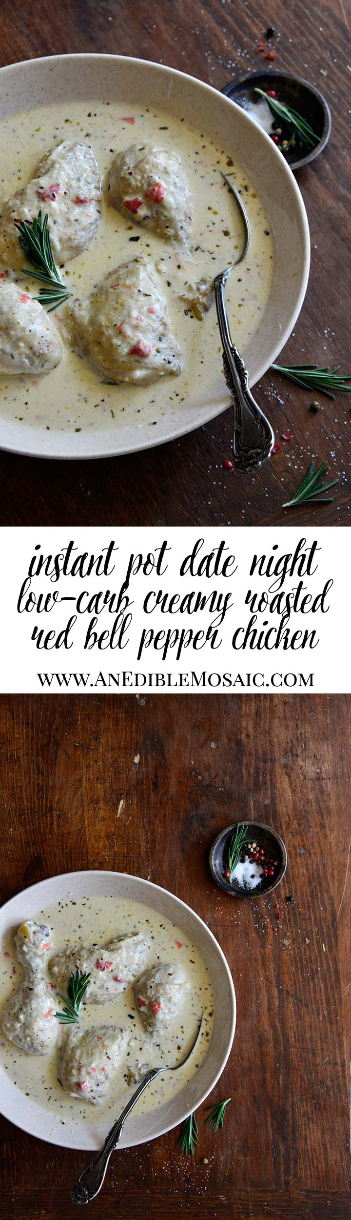 Instant Pot Date Night Low-Carb Creamy Roasted Red Bell Pepper Chicken Long Pin
