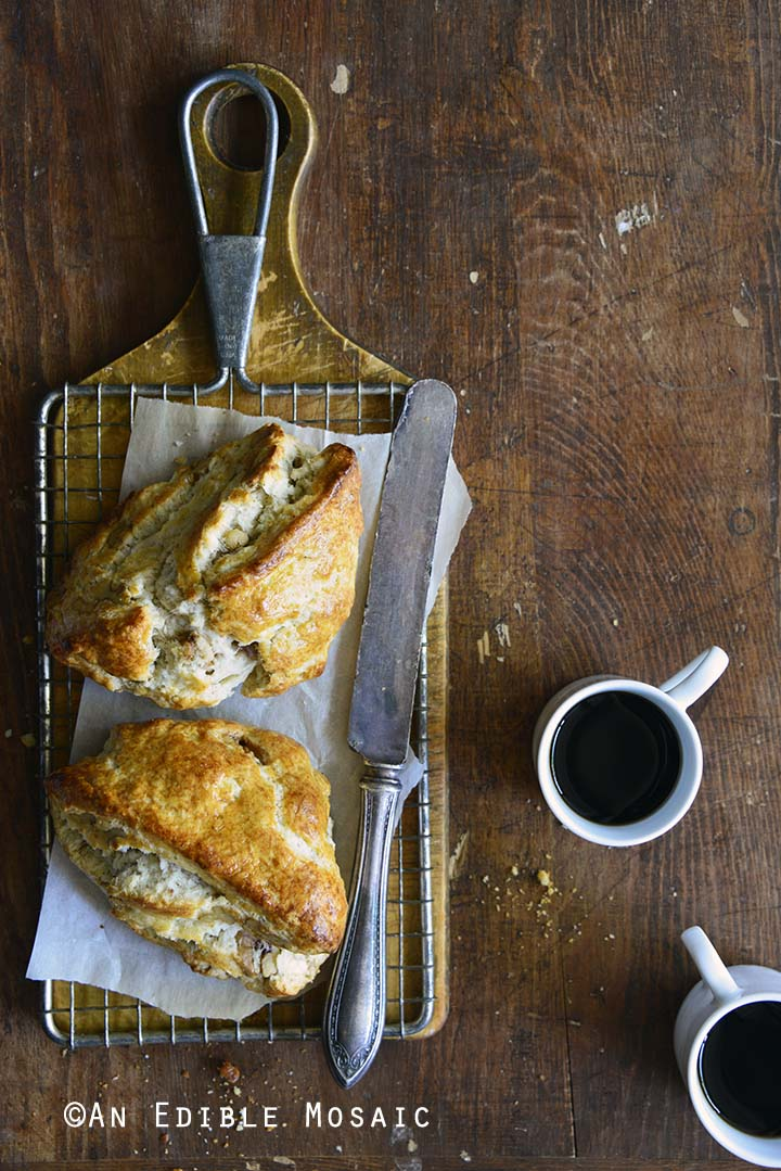 Small Batch Maple-Walnut Scones for Two on Bread Board on Wooden Table