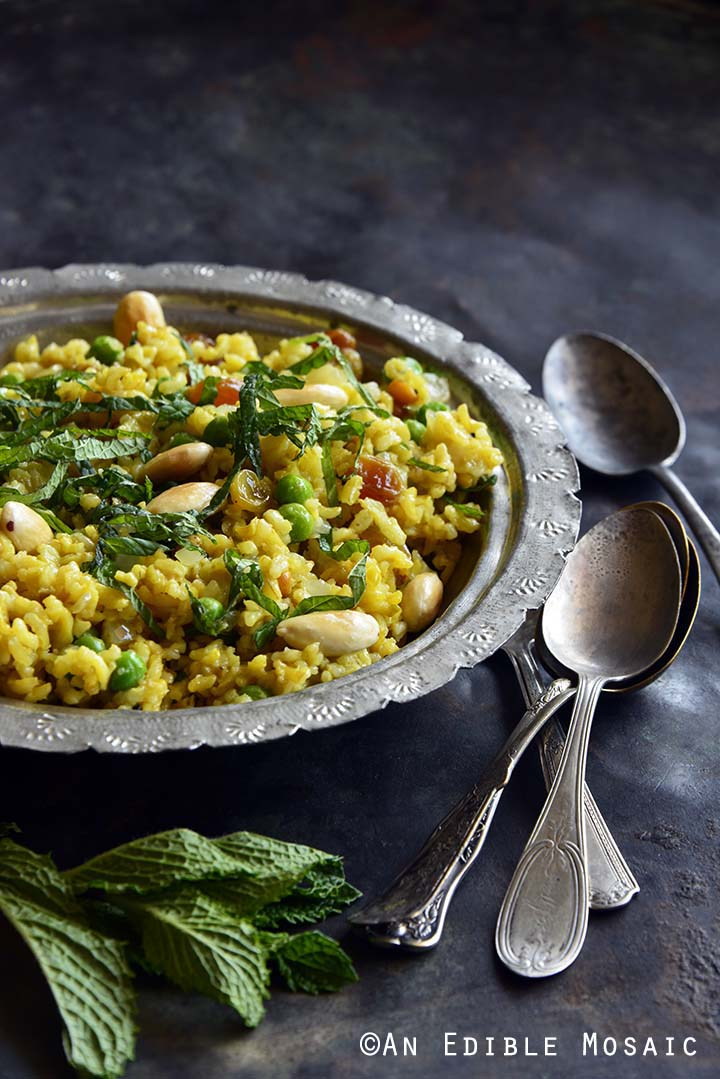 Indian-Inspired Golden Rice and Green Pea Pilaf with Fresh Mint Front View