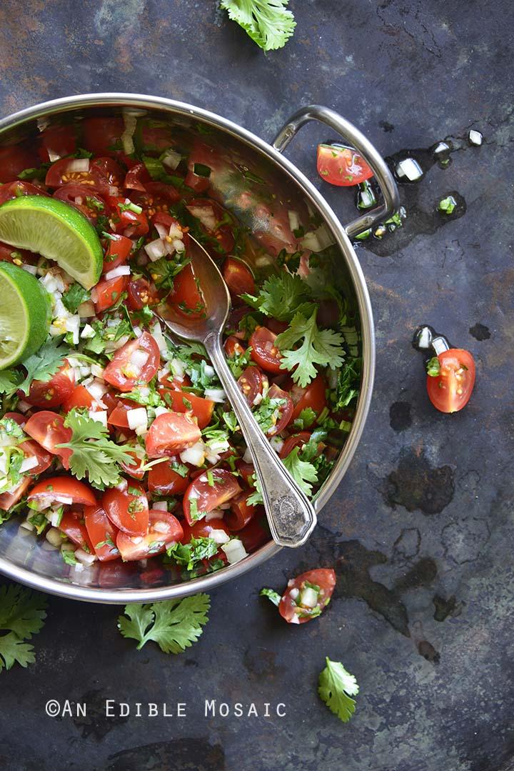 Pico de Gallo (Mexican Fresh Salsa) on Metal Tray