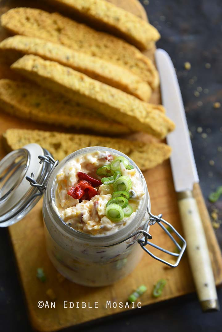 Pimento Cheese with Savory Biscotti on Bread Board