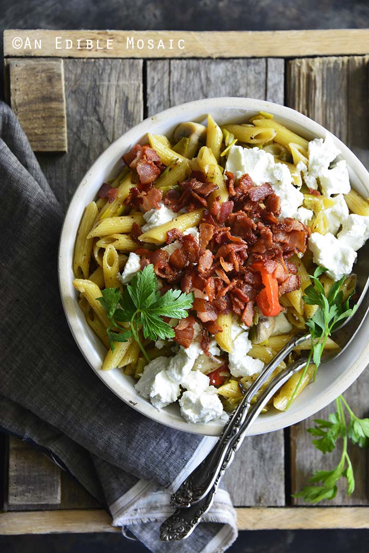 Warm Caramelized Leek Pasta Salad with Bacon and Goat Cheese