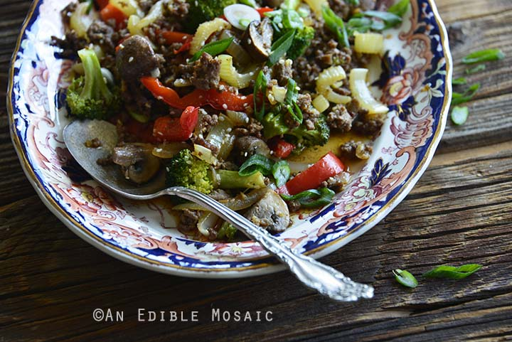 Close Up of 30-Minute Low-Carb Sesame Vegetable Beef Stir Fry