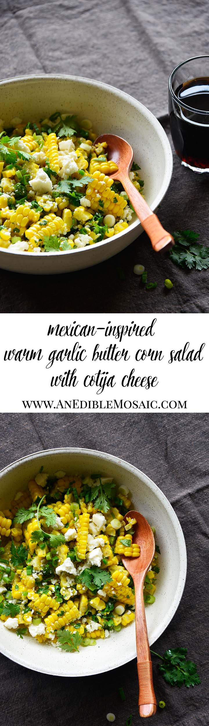 Mexican-Inspired Warm Garlic Butter Corn Salad with Cotija Long Pin