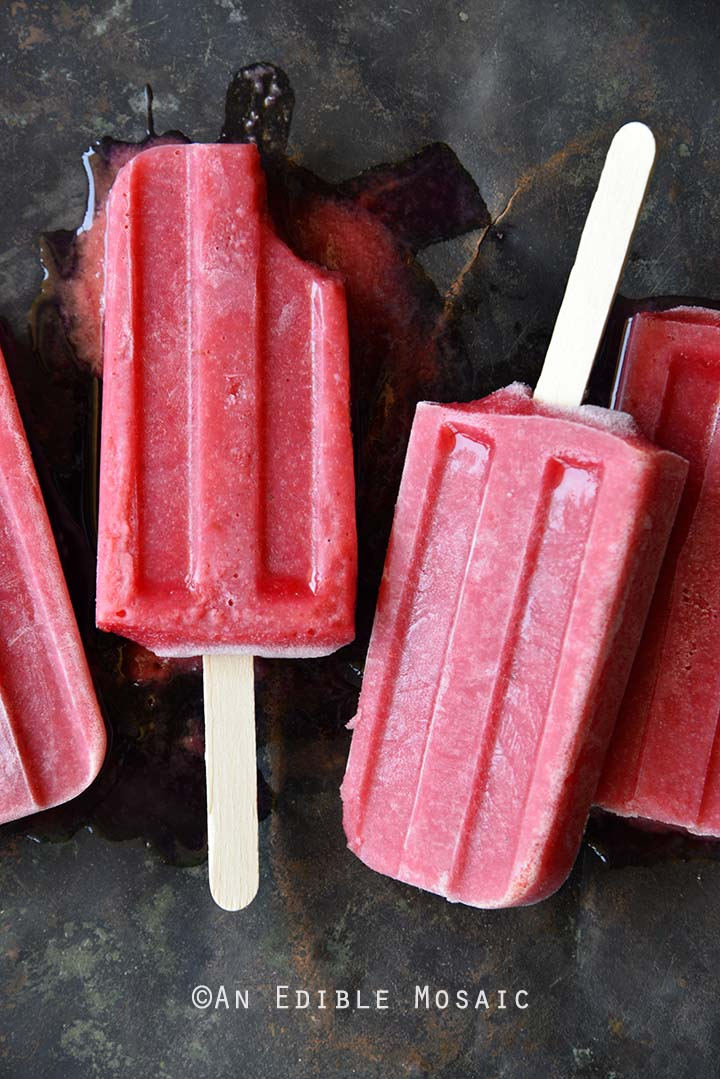 Roasted Plum Rosé Popsicles with Cardamom with Bite