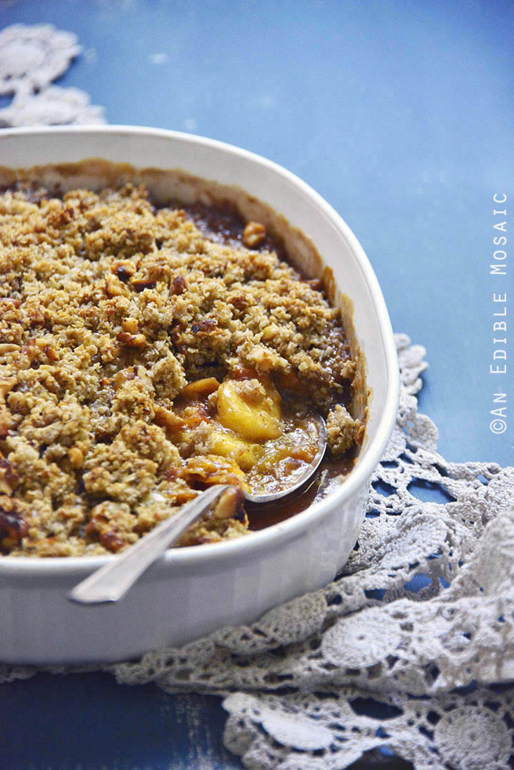 Spiced Maple Peach Oat Crisp