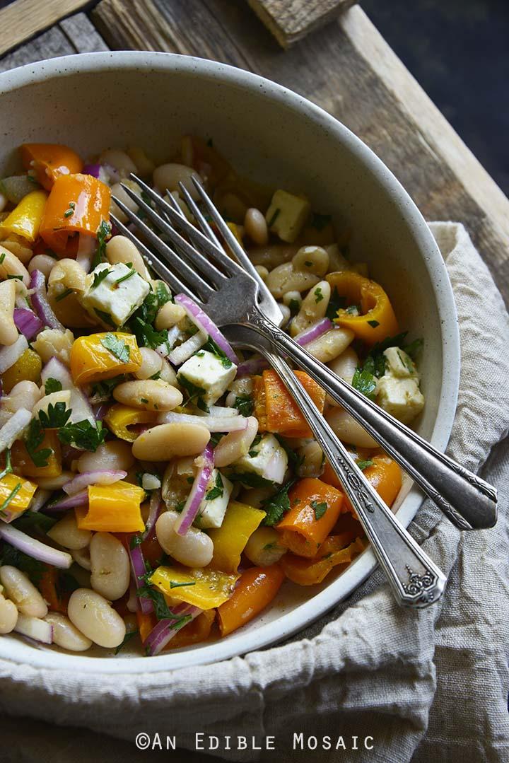 White Bean Roasted Bell Pepper Salad with Maple Dijon Vinaigrette Front View