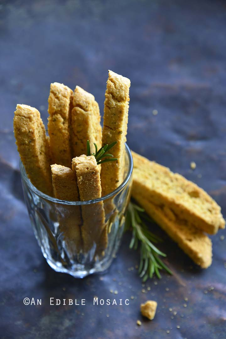 Garlic and Herb Savory Keto Gluten Free Biscotti in Glass