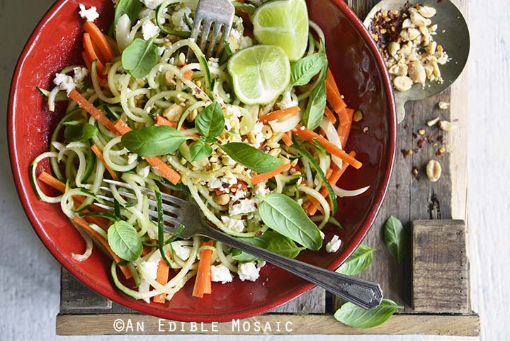 Low Carb Spiralized Cucumber Salad with Peanuts, Basil, and Ginger Miso Dressing Close Up
