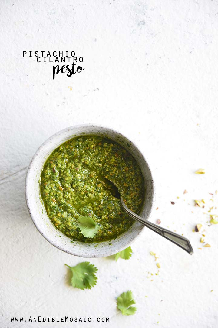 This Pistachio Cilantro Pesto Recipe is fresh and bright-flavored and a little nutty, and a delicious change from a traditional pesto. #lowcarb #keto