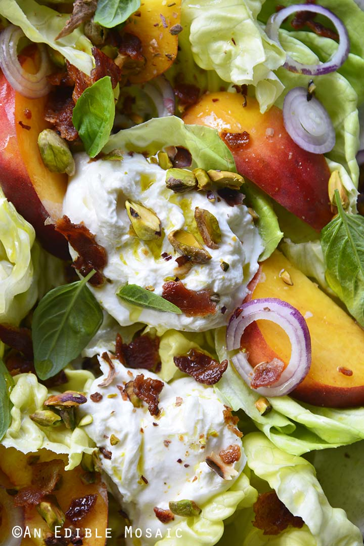 Close Up of Burrata Peach Salad with Butter Lettuce, Basil, and Pistachio