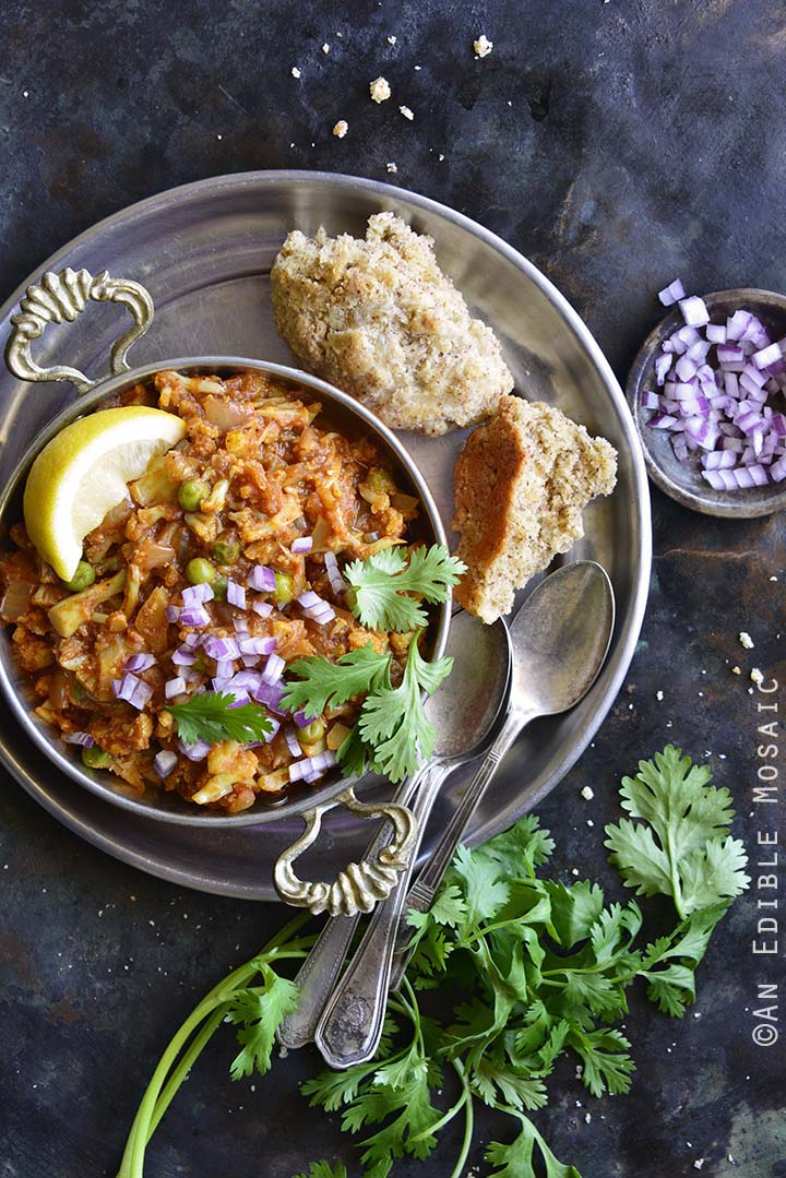 This Instant Pot Cauliflower Pav Bhaji comes together in less than 30 minutes with all the flavor, not the carbs; it's the perfect low carb Indian food!