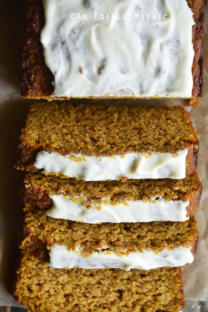 Top View Close Up of Gluten Free Pumpkin Bread Recipe