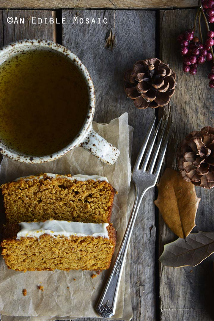 Slices of Gluten Free Pumpkin Bread Recipe with Cup of Tea