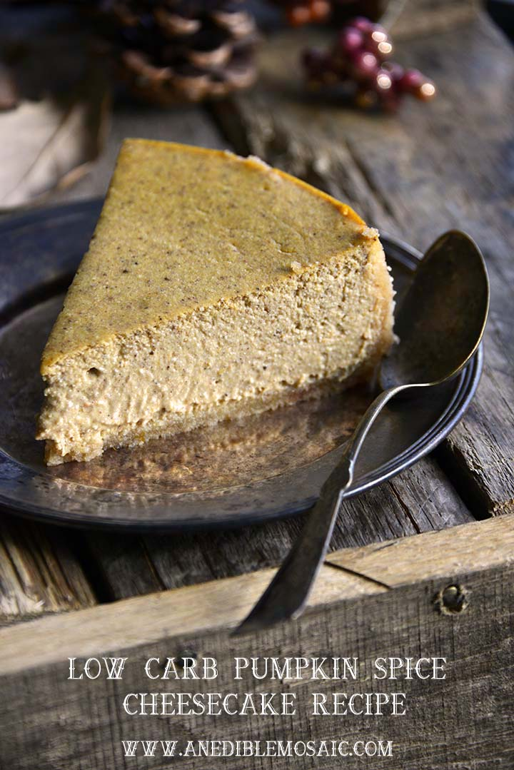 If you're looking for a festive autumnal dessert this Low Carb Pumpkin Spice Cheesecake is rich and creamy with the perfect amount of spiced pumpkin flavor.