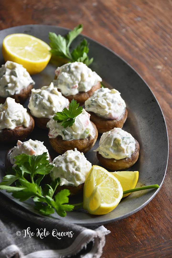 Chilled Old Bay Crab Salad Low Carb Stuffed Mushrooms
