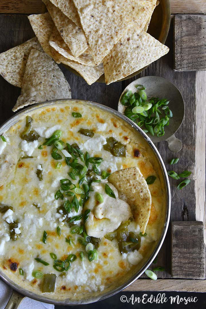 Overhead View of Easy Low Carb Chile Relleno Dip (15 Minute Dip Recipe) on Wooden Table