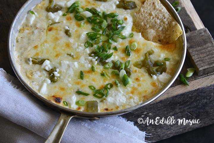 Close Up of Easy Low Carb Chile Relleno Dip (15 Minute Dip Recipe) in Skillet on Wooden Table