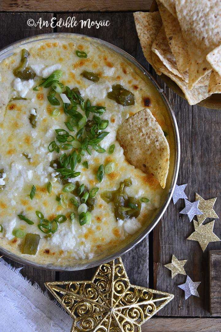 Easy Low Carb Chile Relleno Dip (15 Minute Dip Recipe) with Festive Star Decorations