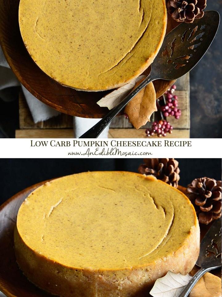 Low Carb Pumpkin Cheesecake Recipe Pinnable Image