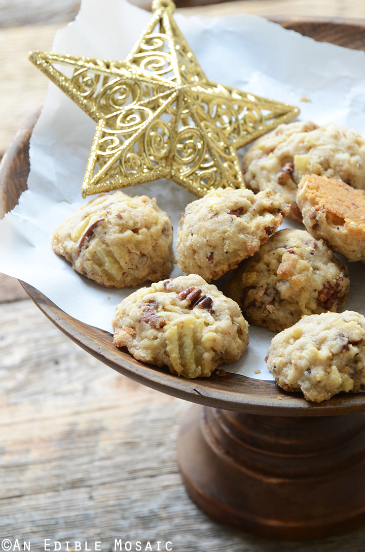 Maple Pecan Potato Chip Shortbread Cookies