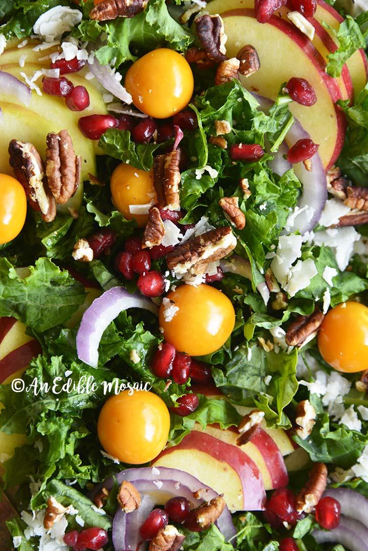 Close Up Top View of Christmas Salad
