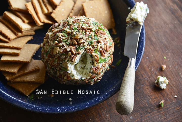 Easy Ranch Cheese Ball Recipe on Blue Plate on Wooden Table