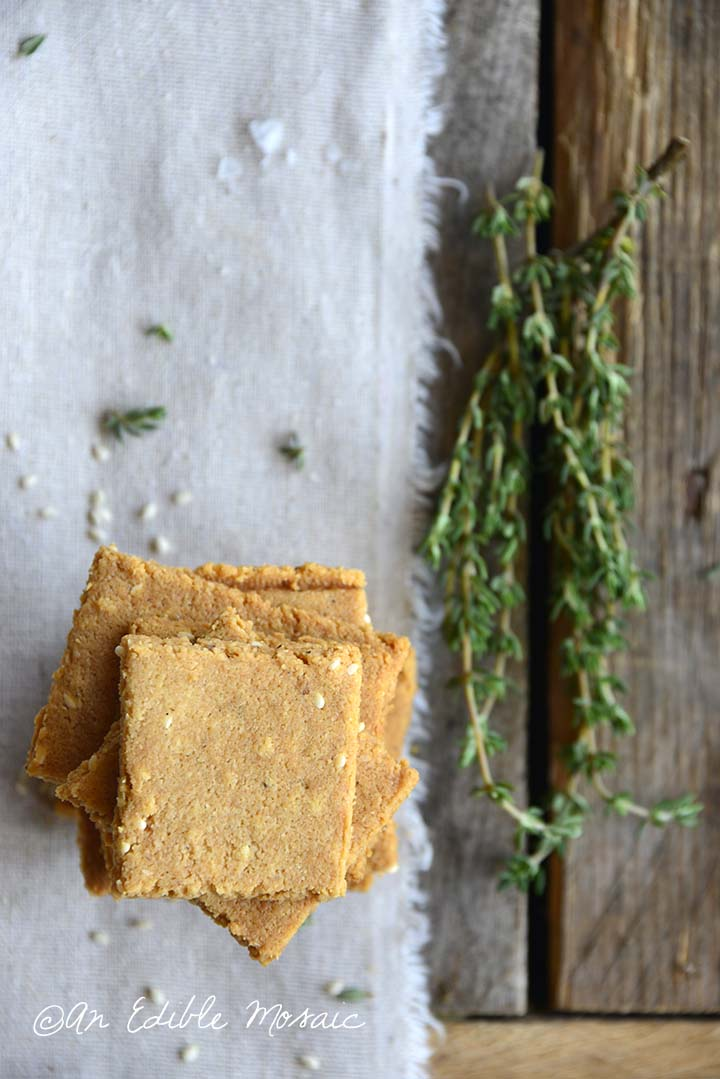 Low Carb Butter Crackers with Fresh Thyme