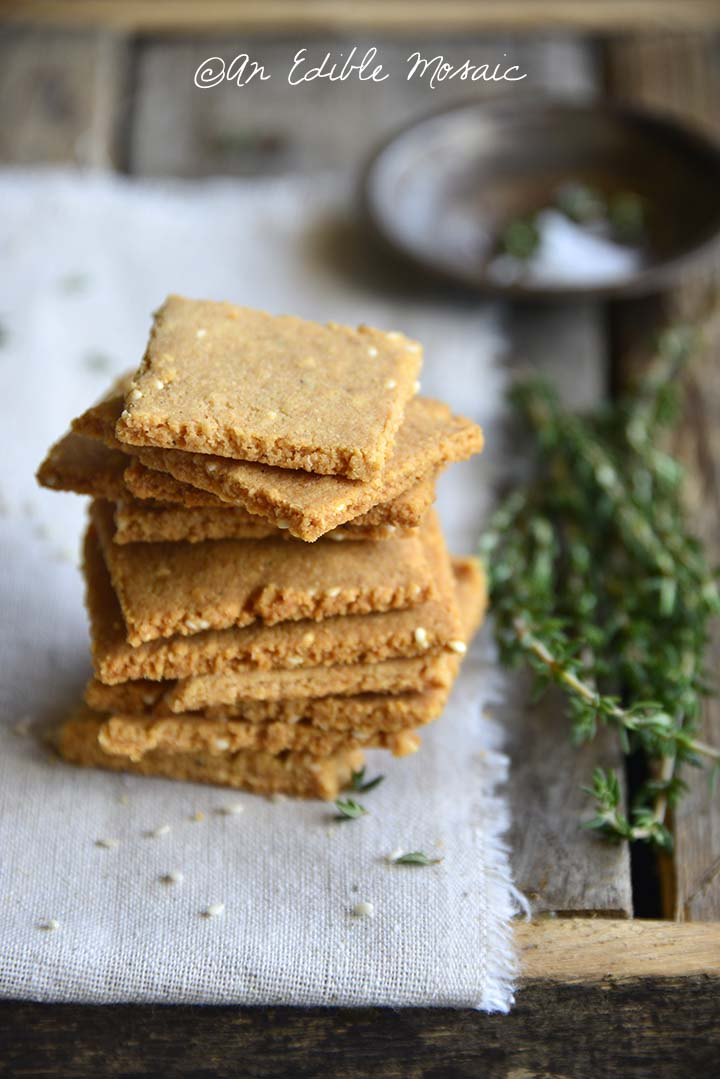Close Up Stack of Low Carb Butter Crackers
