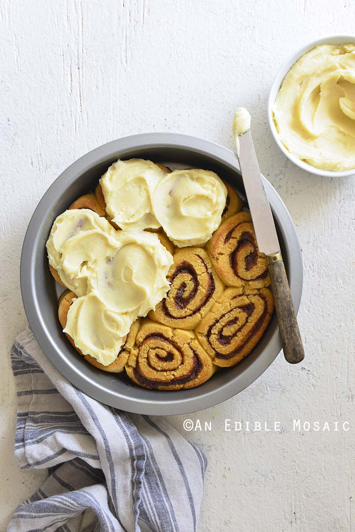 Top View of Best Low Carb Cinnamon Rolls Recipe in Pan on White Table