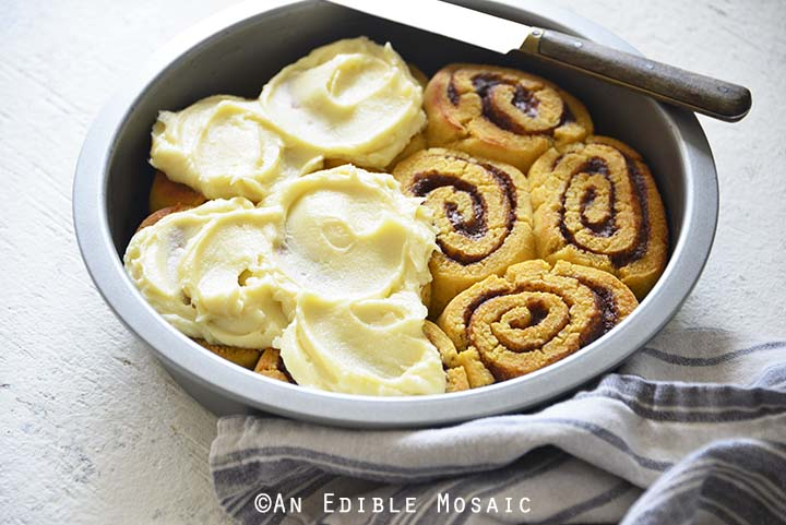 Close Up of Best Low Carb Cinnamon Rolls Recipe in Pan
