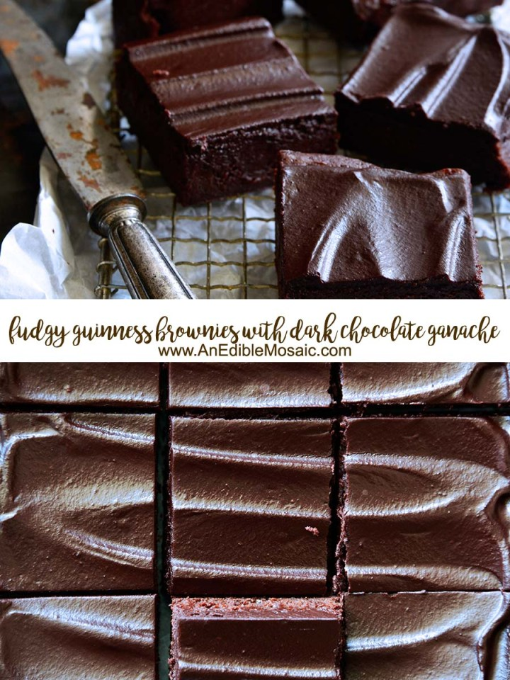 Fudgy Guinness Brownies with Dark Chocolate Ganache Pinnable Image