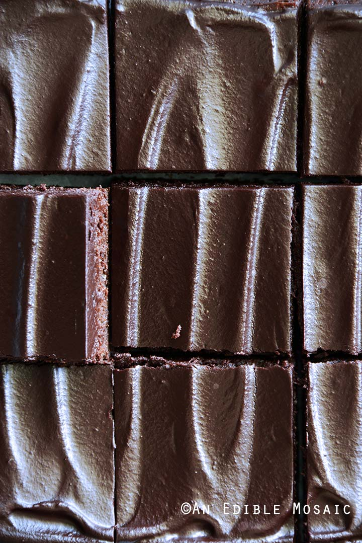 Close Up Overhead View of Fudgy Guinness Brownies with Dark Chocolate Ganache