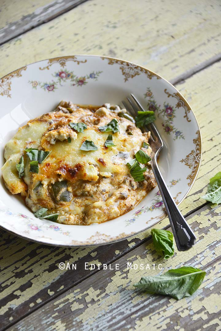 Front View of Low Carb Noodle Free Lasagna Recipe in Flowered Bowl with Vintage Fork