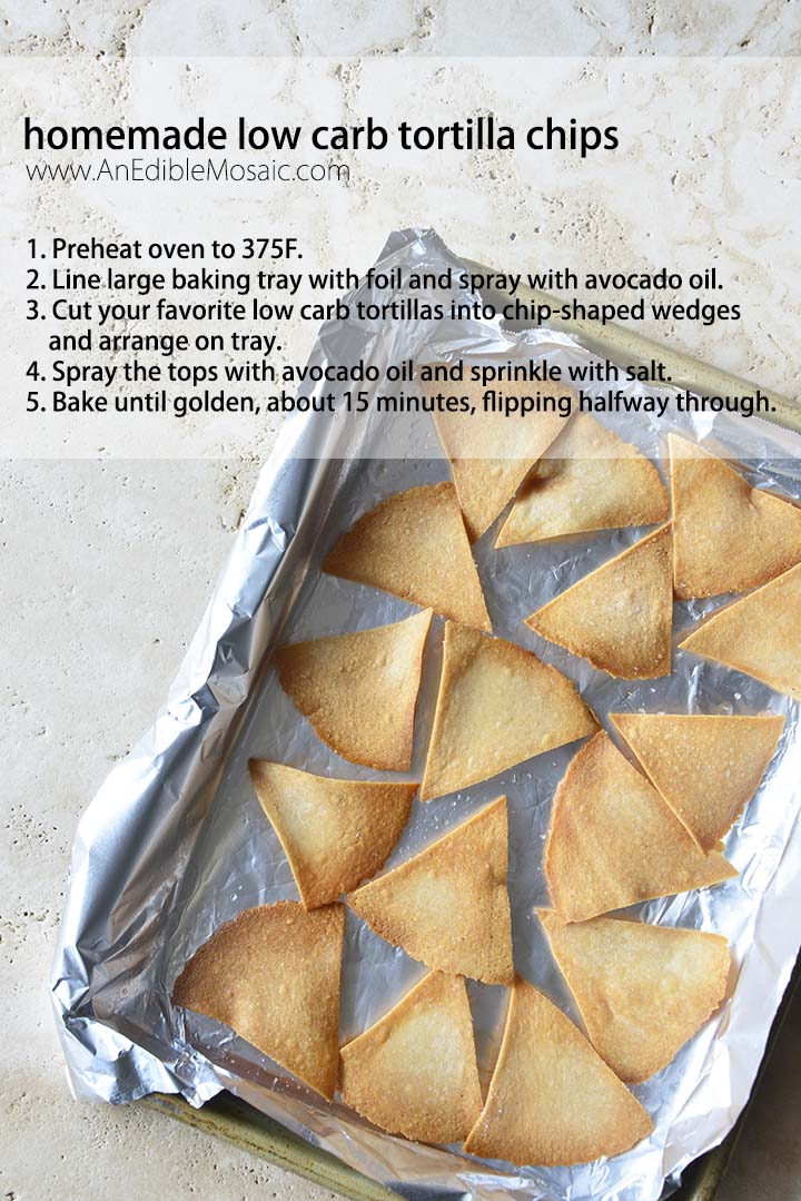 Homemade Low Carb Tortilla Chips on Baking Tray with Recipe Text