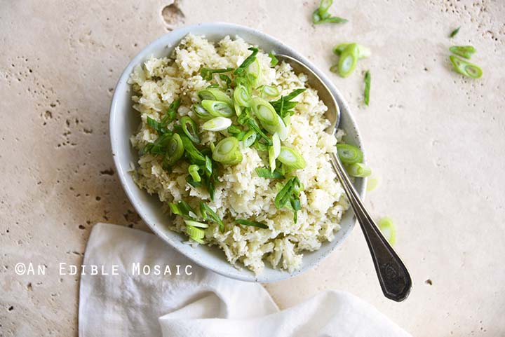 Close Up Top View of Cooked Cauliflower Rice with Scallion