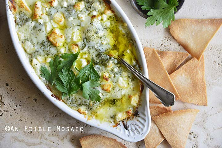 Keto Spanakopita Dip with Homemade Low Carb Chips