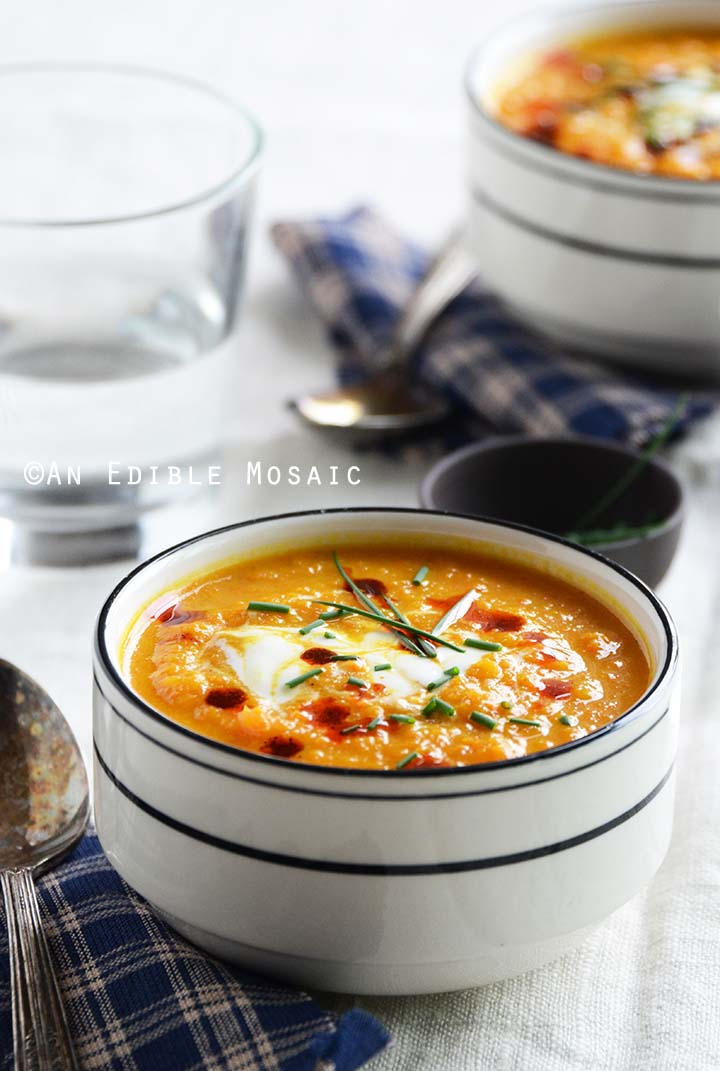 Roasted Carrot-Apple Soup with Paprika Brown Butter