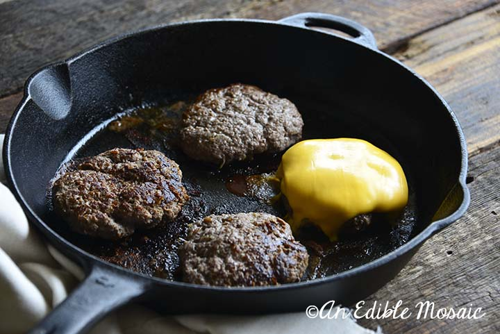 Cast Iron Burgers in Skillet