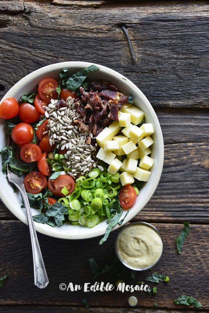 Chopped Kale Salad with Honey Mustard Dressing on the Side