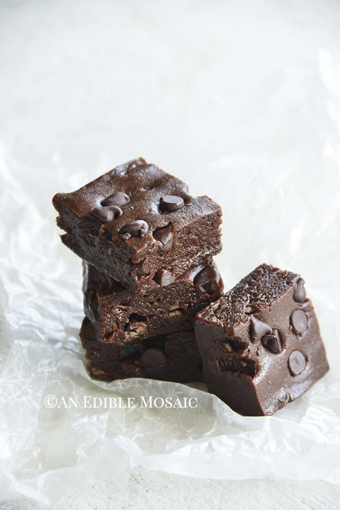 Front View of Stack of Fudgy Double Chocolate Protein Bars