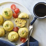 Sous Vide Egg Bites with Bacon and Cheddar with Mug of Coffee