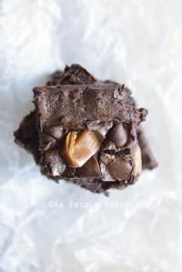 Overhead View of Turtle Brownies on White Wax Paper
