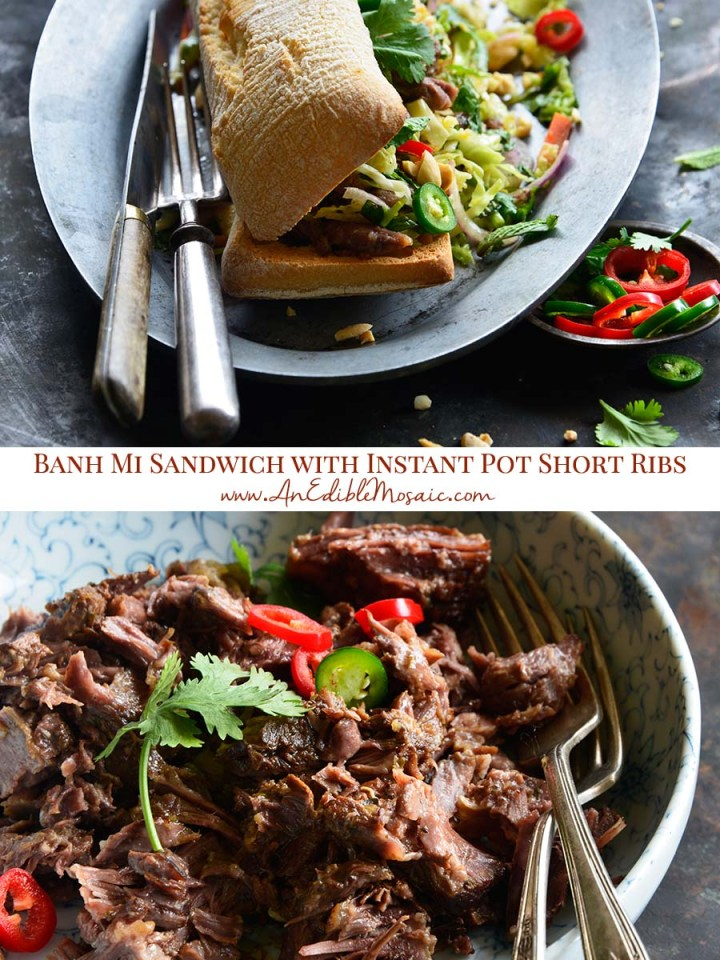 Banh Mi-Inspired Instant Pot Short Rib Sandwiches with Quick Pickled Slaw Pinnable Image