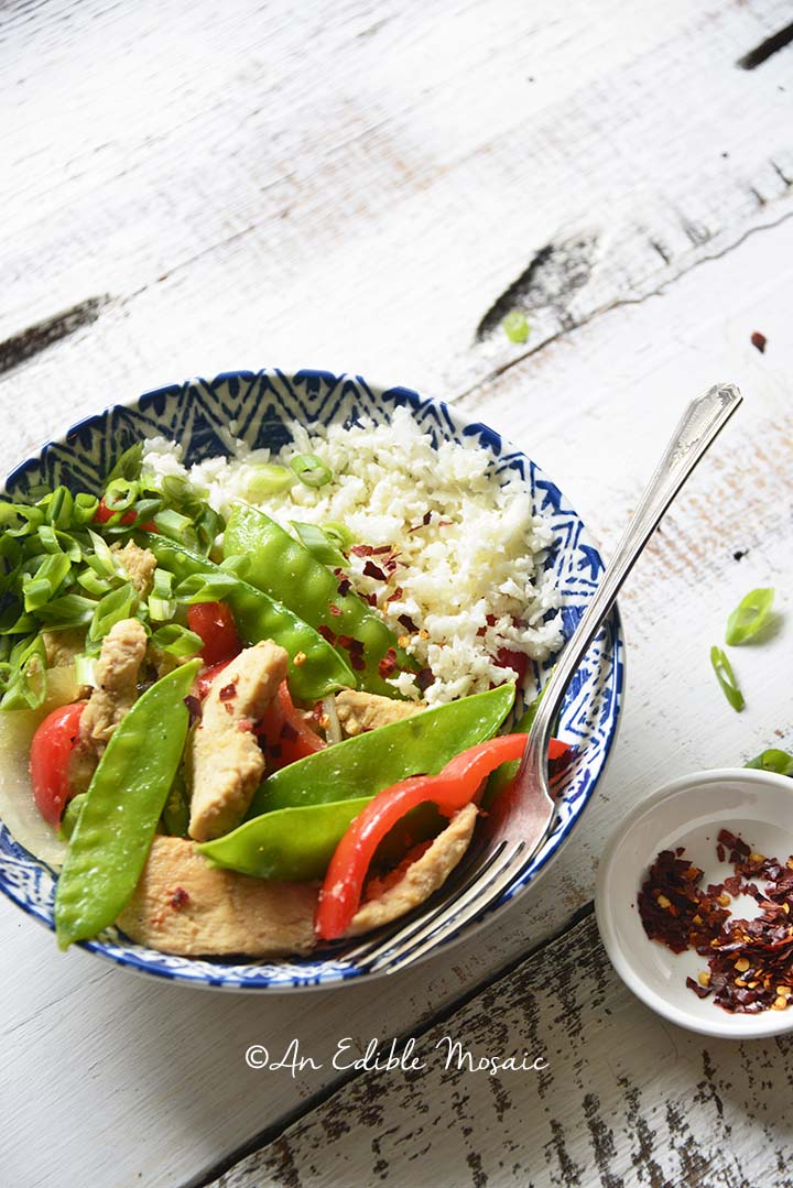 Healthy Sweet and Sour Chicken Stir Fry Recipe in Blue and White Bowl