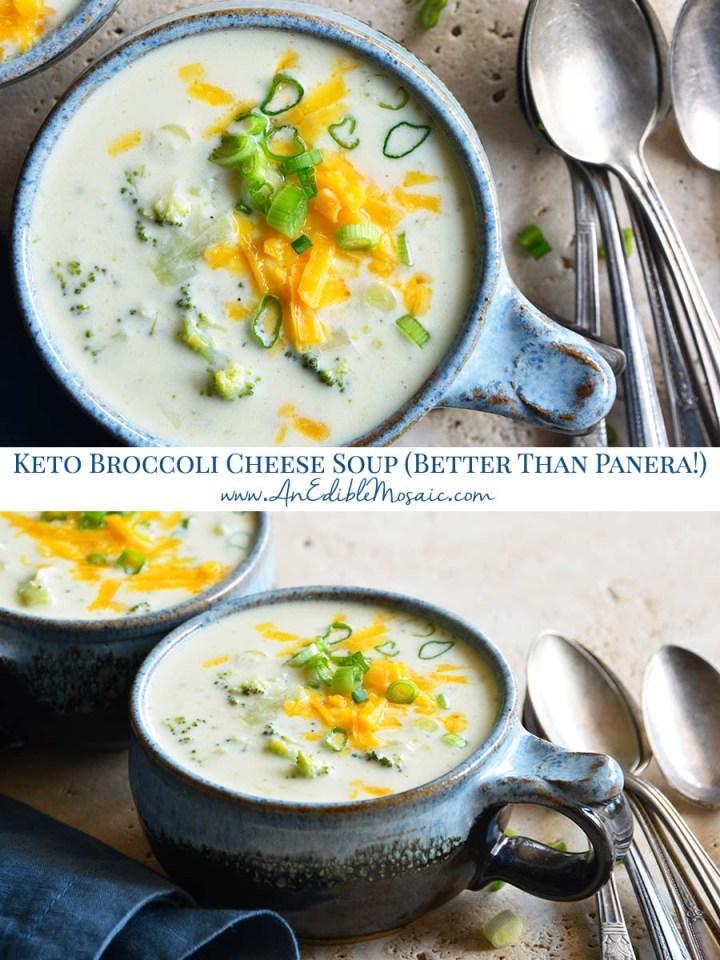 Keto Broccoli Cheese Soup Better Than Panera Pinnable Image